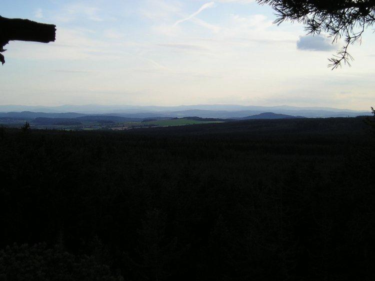 výhled k západu z Hřebence