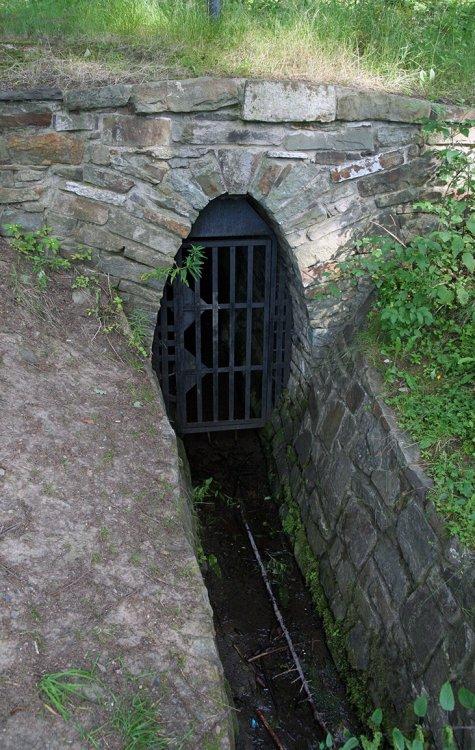 Detail portálu odtokové štoly pod Drkolnovem