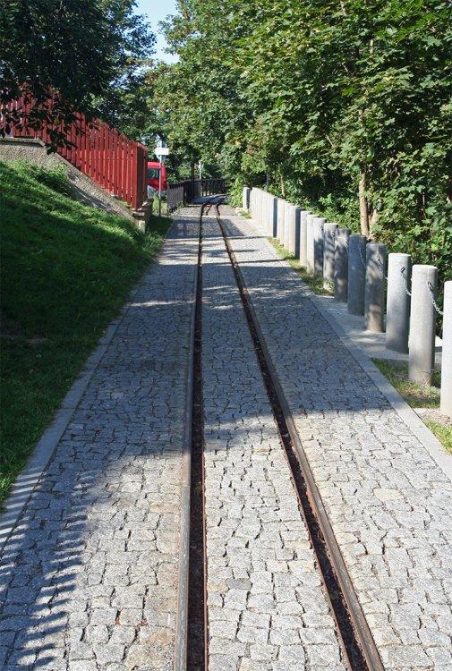 Dráha rekonstruované důlní drážky v ulici Pod Struhami