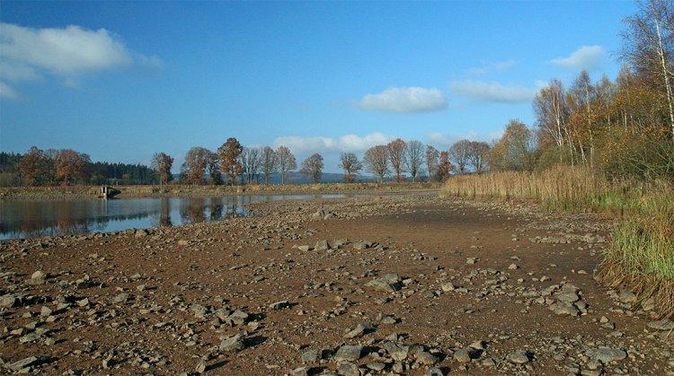 Dolejší Padrťský rybník po výlovu, listopad 2009