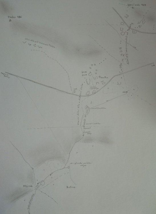 mapka dolování od Plešcem
